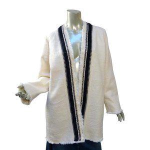 Chico's Rustic Woven Kimono Coat Cardigan White Black Open Work 3 XL